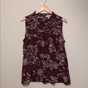 Loft Outlet Burgundy Floral Sleeveless Top Sz  S